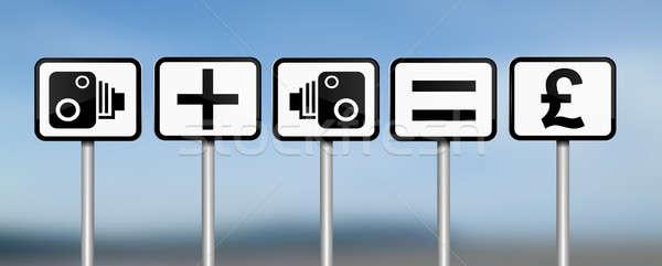 Száguld illusztráció jelzőtáblák sebesség kamera pénzügyi Stock fotó © 72soul