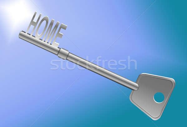 Home veiligheid illustratie sleutel paars licht Stockfoto © 72soul