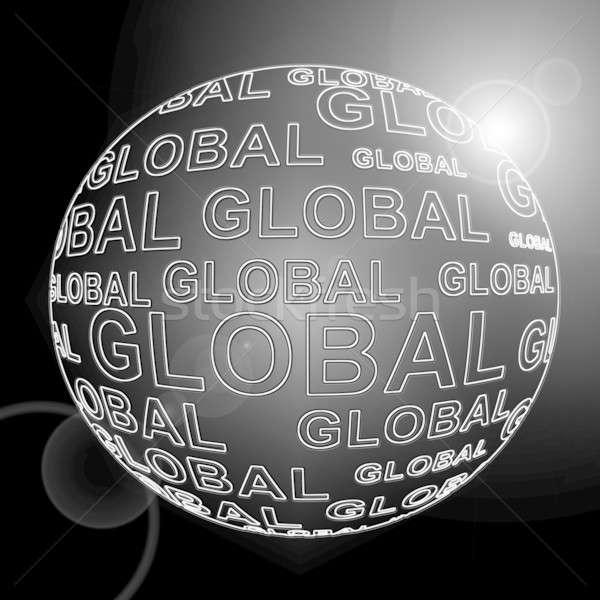 Globale illustratie zwarte bol woorden vorm Stockfoto © 72soul