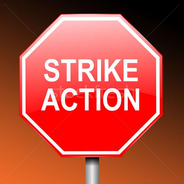 забастовка иллюстрация дорожный знак слов действий темно Сток-фото © 72soul