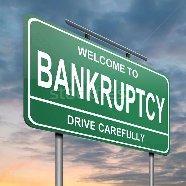 банкротство иллюстрация зеленый дорожный знак облачный закат Сток-фото © 72soul