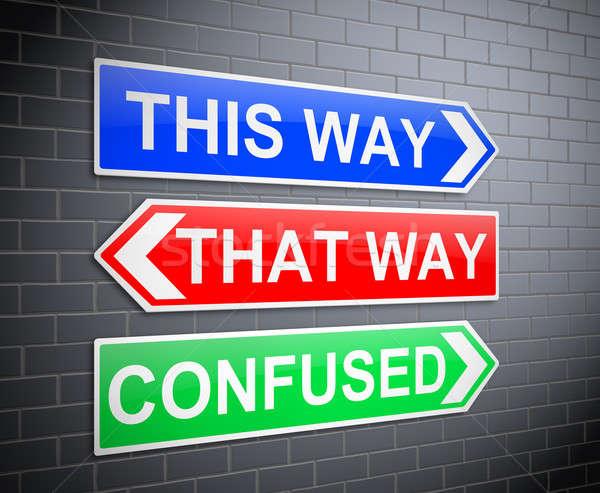 Zamieszanie ilustracja znaki sposób pojęcia mylić Zdjęcia stock © 72soul