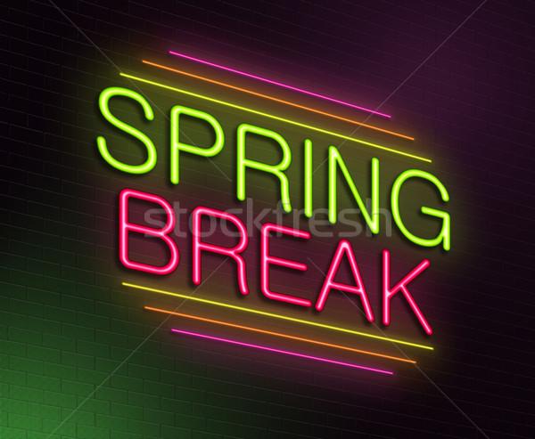 Tavaszi szünet illusztráció megvilágított neonreklám tavasz jókedv Stock fotó © 72soul