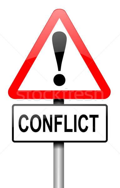 Conflict illustratie weg verkeersbord witte vergadering Stockfoto © 72soul