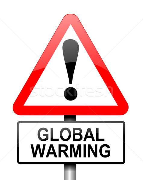 Globális felmelegedés illusztráció piros fehér figyelmeztetés jelzőtábla Stock fotó © 72soul