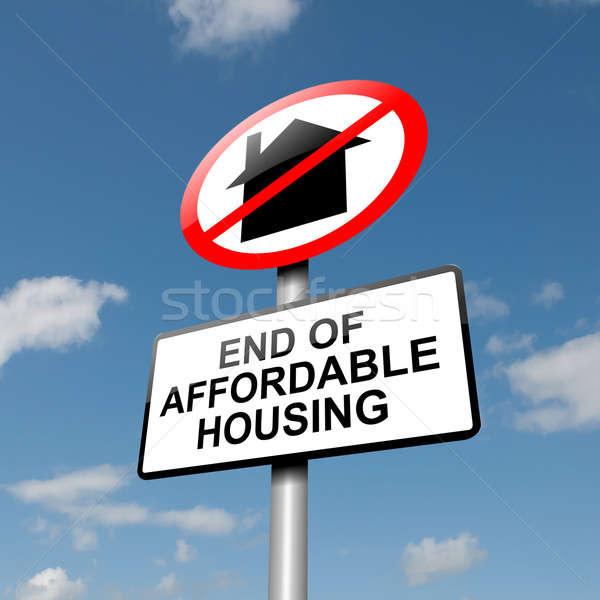 Megfizethető lakásügy illusztráció út közlekedési tábla kék ég Stock fotó © 72soul