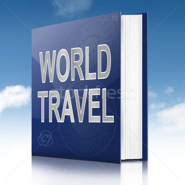 Világutazás illusztráció könyv cím égbolt háttér Stock fotó © 72soul