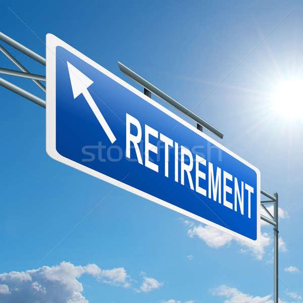 Pensioen illustratie snelweg teken blauwe hemel business Stockfoto © 72soul