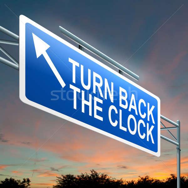 Drehen zurück Uhr Illustration beleuchtet Stock foto © 72soul