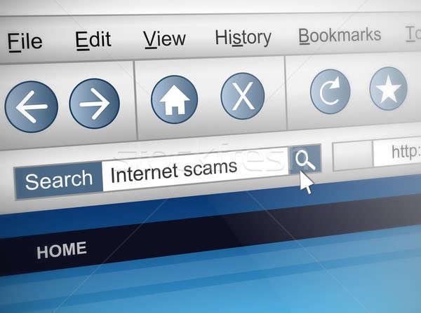 Internet scam illustratie computerscherm shot Zoek Stockfoto © 72soul