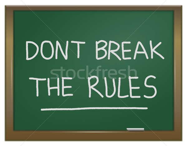 Pause Regeln Illustration grünen Kreide Bord Stock foto © 72soul