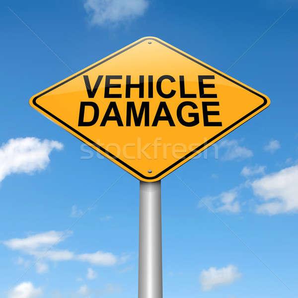 Pojazd uszkodzenie podpisania ilustracja samochodu drogowego Zdjęcia stock © 72soul