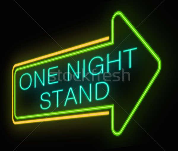 Egy éjszaka áll illusztráció megvilágított neonreklám Stock fotó © 72soul