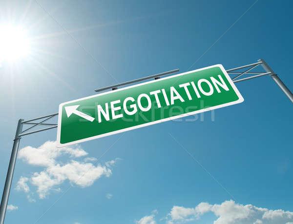Tárgyalás illusztráció autópálya felirat kék ég iroda Stock fotó © 72soul