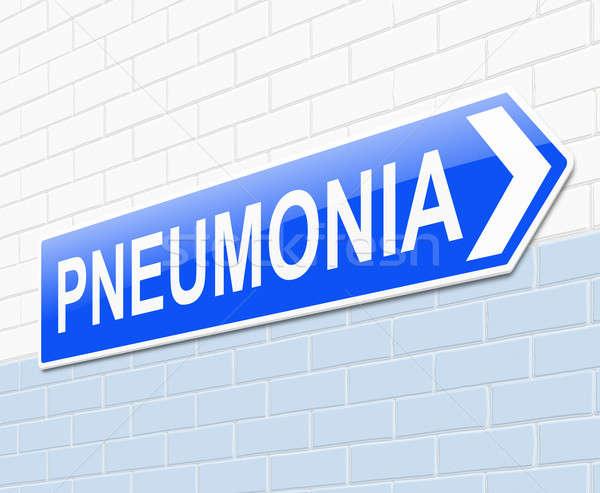 Tüdőgyulladás illusztráció felirat kórház kék törődés Stock fotó © 72soul