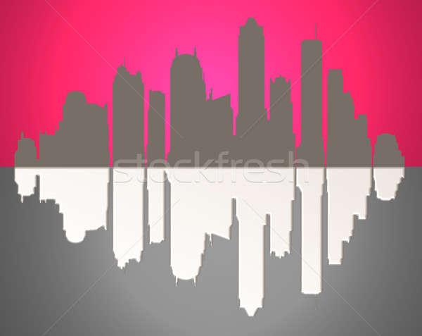 Abstract skyline illustratie roze voorgrond Stockfoto © 72soul