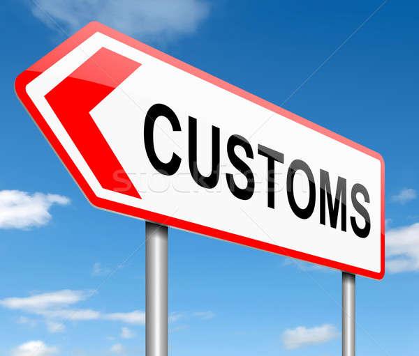 Urząd celny ilustracja znak drogowy tle podpisania finansowych Zdjęcia stock © 72soul