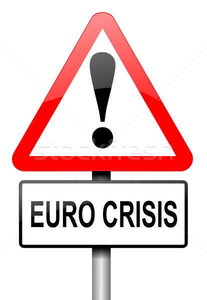 Euro crisis illustratie weg verkeersbord witte Stockfoto © 72soul