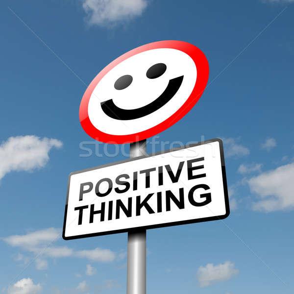 Positief denken illustratie weg verkeersbord blauwe hemel Stockfoto © 72soul
