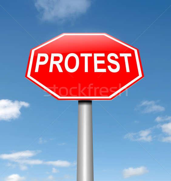 Protesta ilustración cielo trabajo fondo Foto stock © 72soul