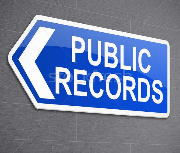 Openbare records illustratie teken nieuws Blauw Stockfoto © 72soul