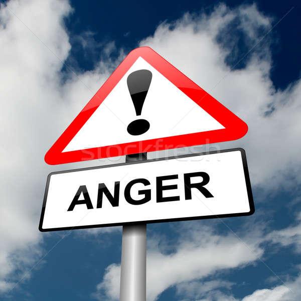 Gniew ostrzeżenie ilustracja czerwony biały Zdjęcia stock © 72soul