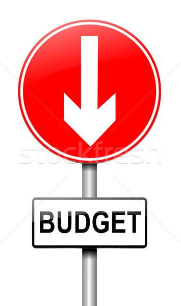 Költségvetés csökkenés illusztráció útjelzés fehér pénz Stock fotó © 72soul