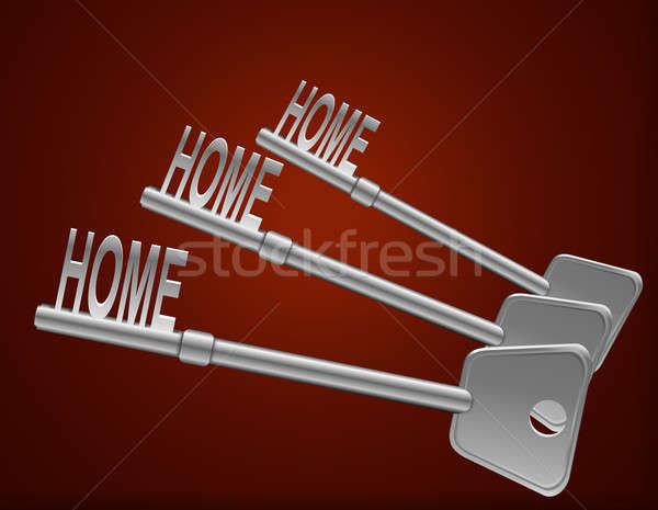 Home veiligheid illustratie drie sleutels donkere Stockfoto © 72soul