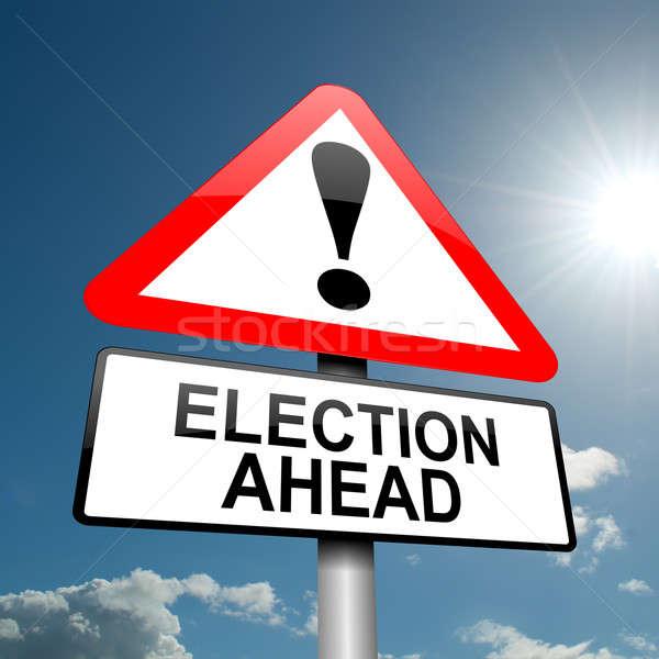 Verkiezing illustratie weg verkeersbord blauwe hemel partij Stockfoto © 72soul