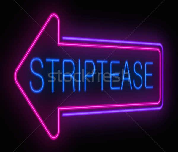 Sztriptíz felirat illusztráció megvilágított neon meztelen Stock fotó © 72soul