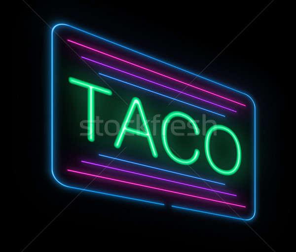 Neon tacos imzalamak örnek restoran Stok fotoğraf © 72soul