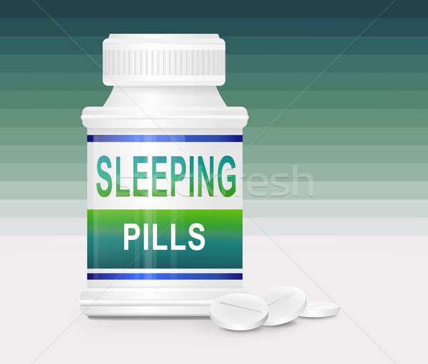 Slapeloosheid illustratie container woorden slapen Stockfoto © 72soul