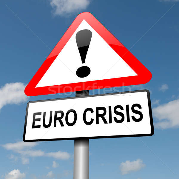Euro crisis illustratie weg verkeersbord blauwe hemel Stockfoto © 72soul