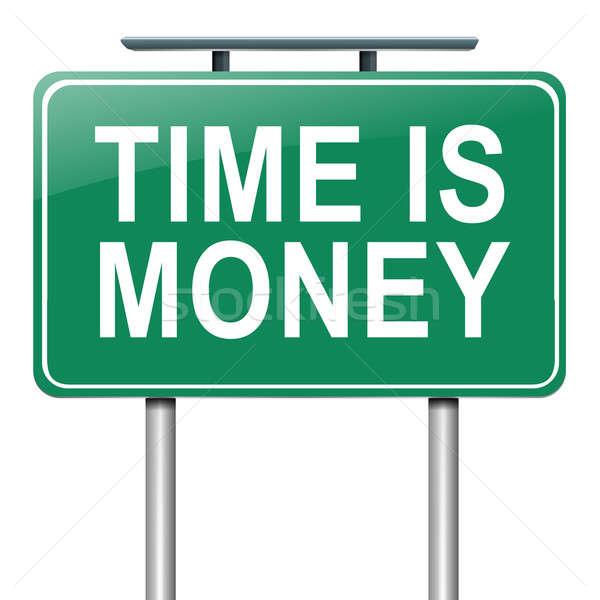 Az idő pénz illusztráció útjelzés fehér üzlet felirat Stock fotó © 72soul