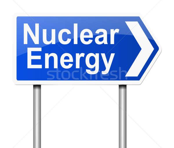 Stock fotó: Nukleáris · energia · illusztráció · felirat · háttér · kék