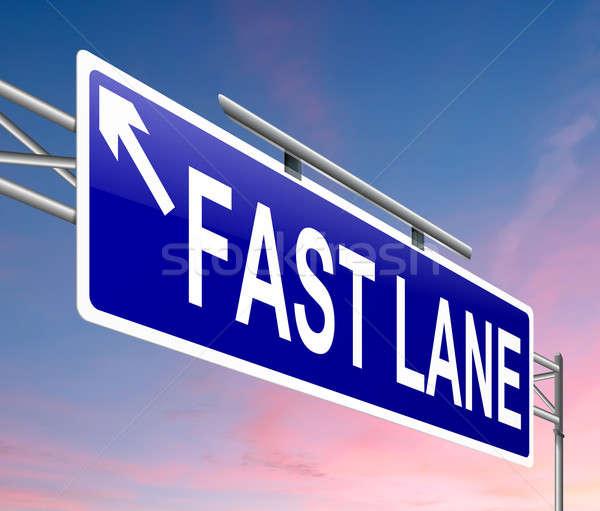 Gyors sáv illusztráció felirat égbolt út Stock fotó © 72soul