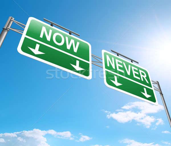 Teraz nigdy ilustracja podpisania drogowego zielone Zdjęcia stock © 72soul