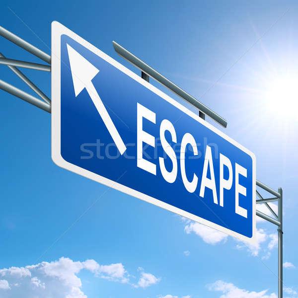 Escapar ilustración carretera signo cielo azul fondo Foto stock © 72soul