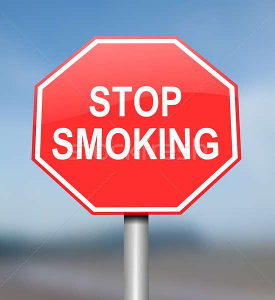 Stop fumare illustrazione rosso bianco allarme Foto d'archivio © 72soul