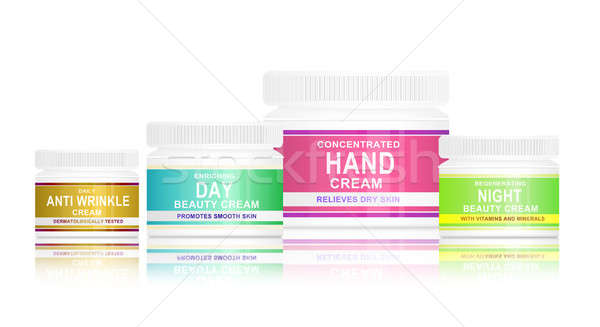 Pielęgnacja skóry produktów ilustracja cztery produktu twarz Zdjęcia stock © 72soul