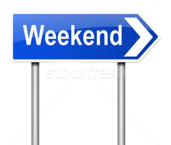Weekend illustratie verkeersbord grafische concept witte achtergrond Stockfoto © 72soul