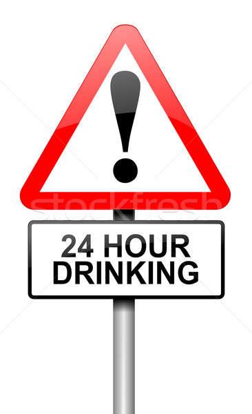 24 uur drinken illustratie weg verkeersbord Stockfoto © 72soul