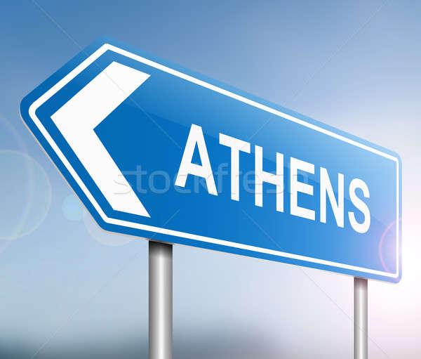 Athene illustratie teken Blauw toerisme Griekenland Stockfoto © 72soul