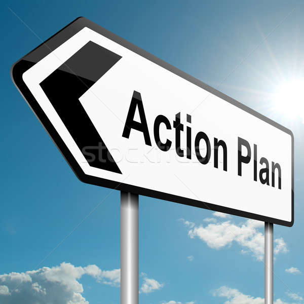 Actie plan illustratie weg verkeersbord blauwe hemel Stockfoto © 72soul
