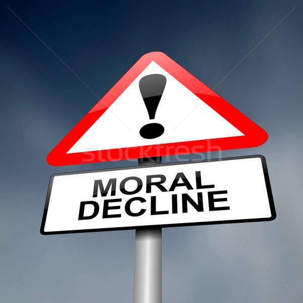 Moralny spadać ilustracja drogowego znak drogowy biały Zdjęcia stock © 72soul