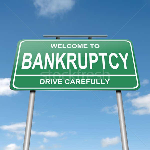 банкротство иллюстрация зеленый дорожный знак Blue Sky фон Сток-фото © 72soul