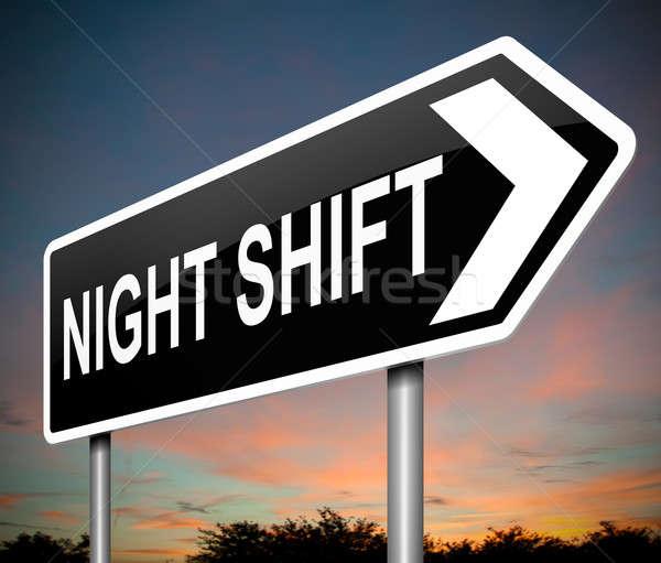 Gece vardiya örnek imzalamak gökyüzü çalışmak Stok fotoğraf © 72soul