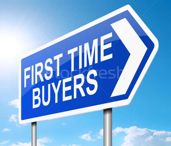 Comprador por primera vez ilustración signo primero tiempo Foto stock © 72soul