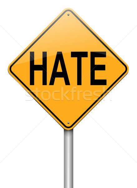 Gyűlölet illusztráció útjelzés fehér égbolt háttér Stock fotó © 72soul