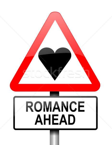 романтика впереди иллюстрация красный белый предупреждение Сток-фото © 72soul